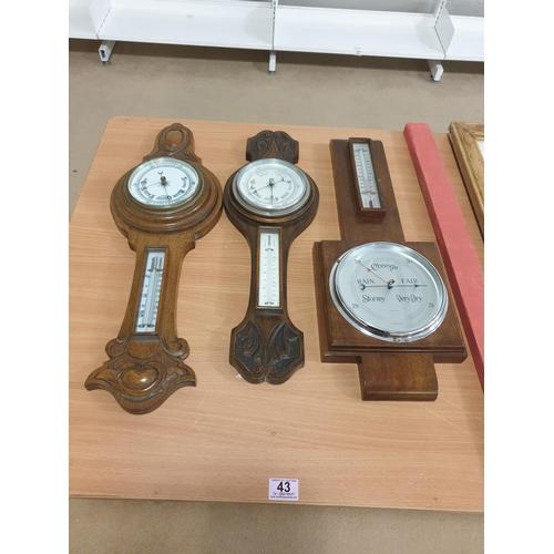 43 - Three oak framed barometers...
