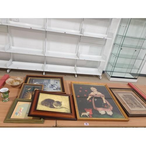 46 - Paintings and prints, art glass, Noritake Moriage vase 1908 - 1939...