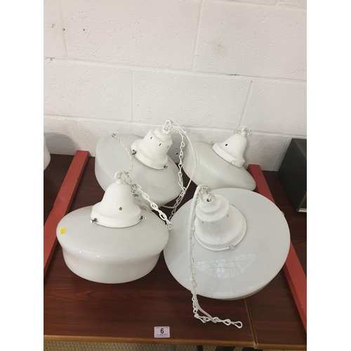 6 - Four vintage Opaline pendant light fittings including galleries...