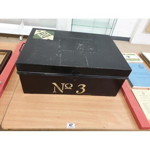 47 - A large tin deed box...