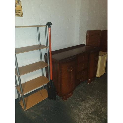 815 - A Jentique sideboard, display stand, shoe tidy and a wooden storage box...