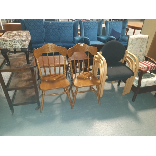 828 - Three stacking chairs, two wooden chairs, drinks trolley, etc...