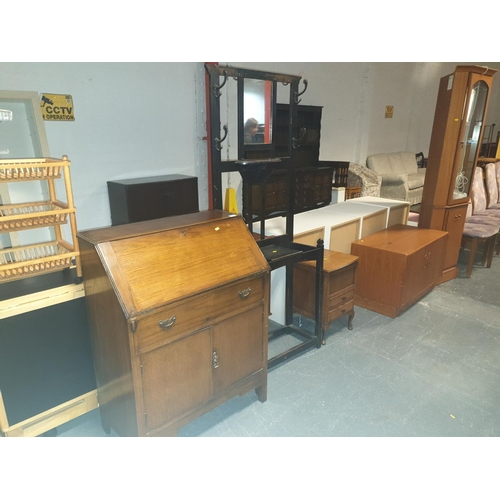 836 - A writing bureau, hall stand and a sewing box...