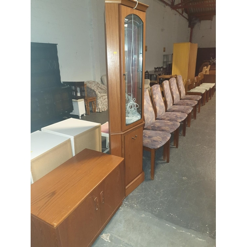837 - Six G Plan chairs, a corner cabinet and a G Plan unit....