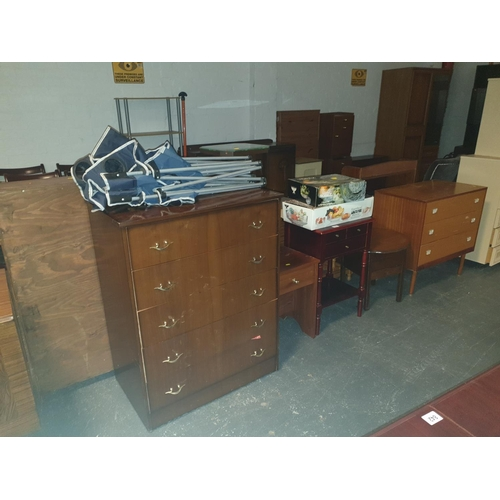 839 - Two chests of drawers, three side tables, glassware,camping chairs etc....