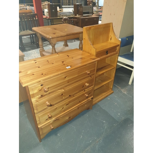 845 - A pine chest of drawers and a pine bookcase....