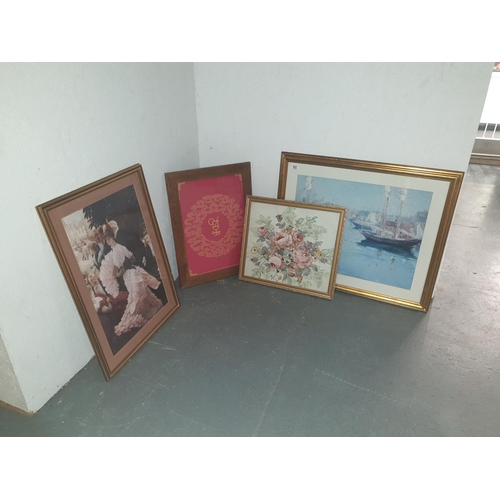 902 - Four framed pictures and prints...
