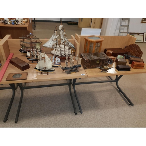 23 - Wooden sailing ships and other wooden items...