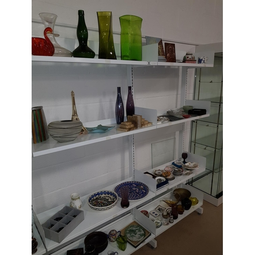 50 - Eight shelves of household china and glass...