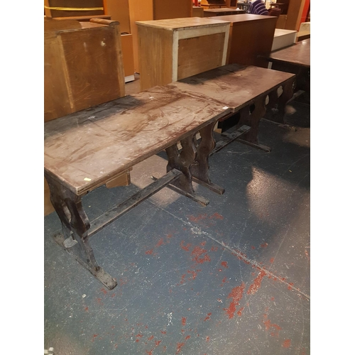 322 - Two wooden pub tables...