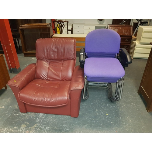 347 - Four stacking chairs and a red leather reclining chair...