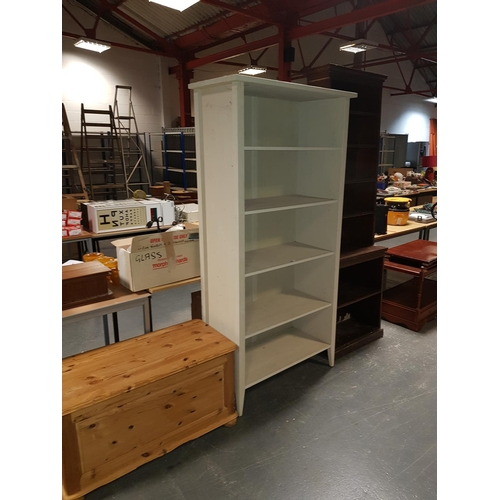 358 - A pine box and two large bookcases...