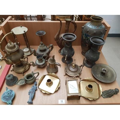 16 - A Chinese metal & Cloisonne enamel vase featuring Taoti mask motifs plus other brassware, clock etc...