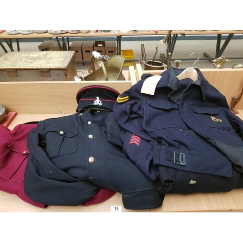 18 - An Army wardens uniform, Air Raid wardens long overcoat, tunic, trousers etc...