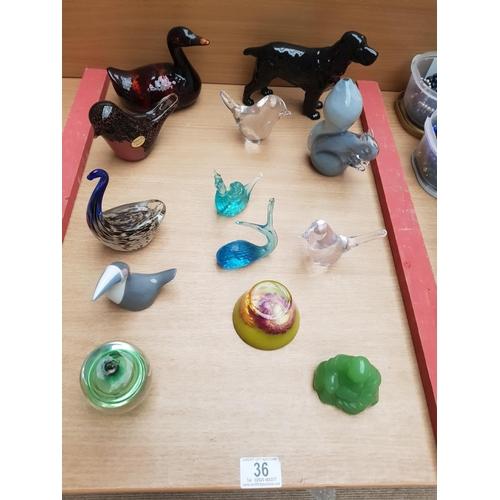 36 - Wedgwood Glass bird, squirrel, Royal Dux bird, Beswick dog etc...