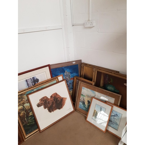 85 - A selection of paintings and prints including 'Two Irish Setters' Leon Dachin, A signed Adolf Sehrin...