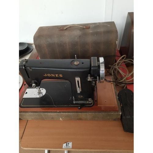 87 - A Jones CB Model C heavy duty hand crank sewing machine...
