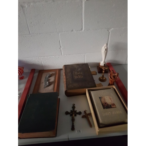 116 - A collection of religious items including leather bound Bible etc...
