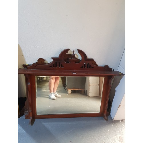 263 - Two mahogany over mantle mirrors...