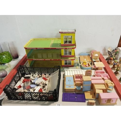119 - A Tin plate emergency hospital, hospital furniture, plus wooden dolls furniture...