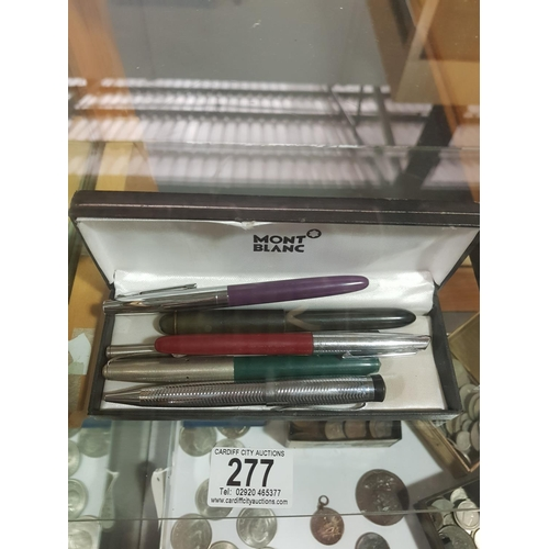 277 - A Mont Blanc box and a selection of pens; one marked Mont Blanc, 277 Sheaffer, Platnium and Commonwe...