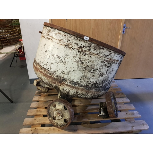 103 - A very large cast iron foundry/industrial pot on cast iron dolly - one wheel broken - 1000m diameter...