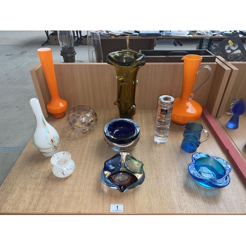 1 - A collection of art glass...
