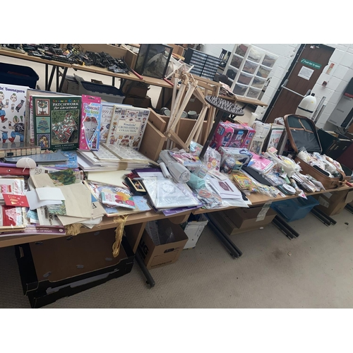 16 - Assorted craft, embroidery, sewing supplies etc and suitcase with large quantity of assorted fabrics...
