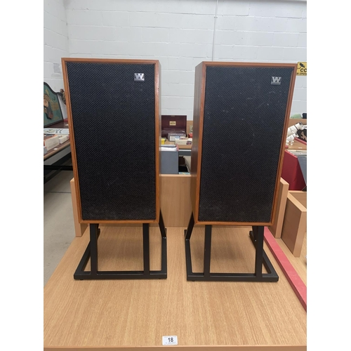 18 - A pair of 'Warfdale Linton 2' speakers on stand...