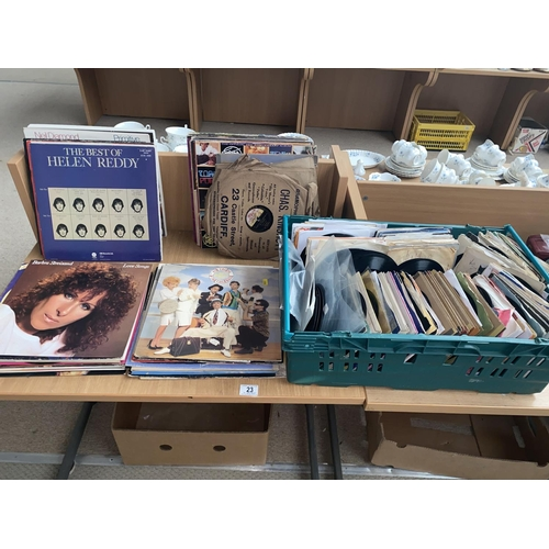 23 - A collection of mostly pop Vinyl LP's and 45 singles...