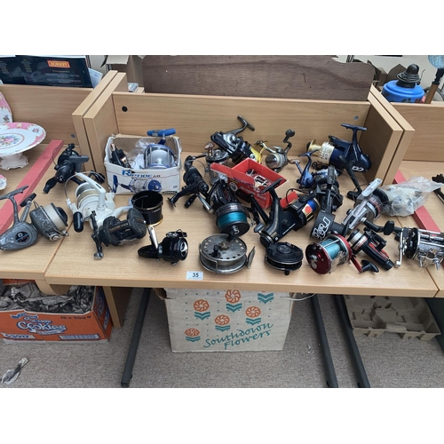 35 - Fishing reels including ; Penn,Abu, Grace and Young etc....