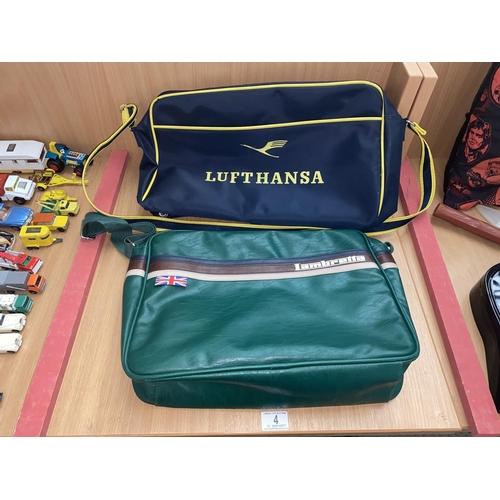 4 - A vintage Lambretta bag and a Lufthansa bag...