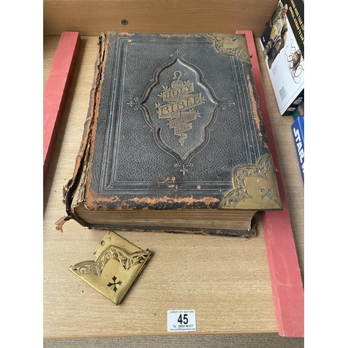 45 - A large leather bound English bible...