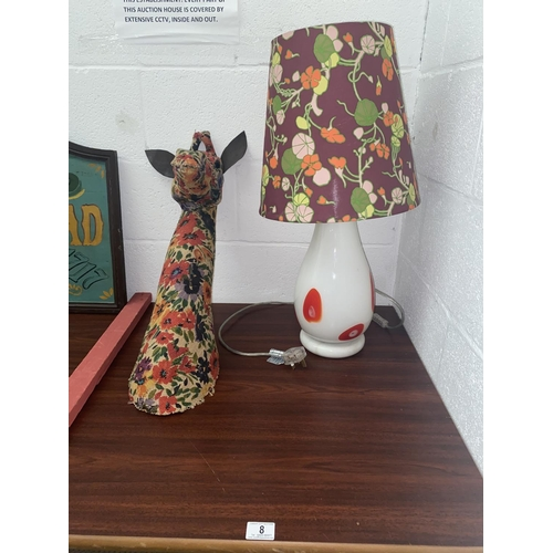 8 - A retro glass table lamp and shade and a fabric giraffe head...