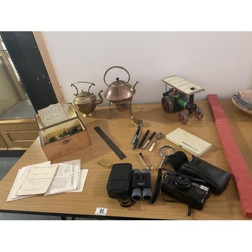 82 - A Mamod steam train, copper brass kettle, pens, camera etc....
