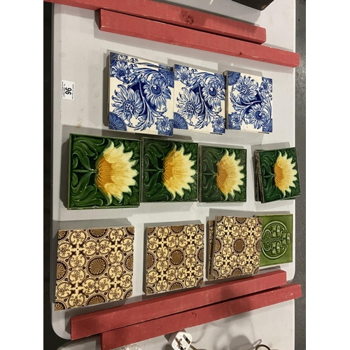 96 - A collection of vintage tiles including Minton...