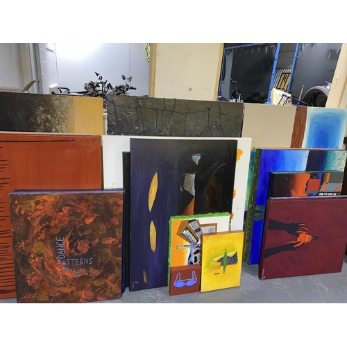 104 - A collection of original modern art canvases by Georg Burgstaller who studied fine art in Seattle an...