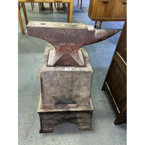 118 - A 100lb anvil on double stand...