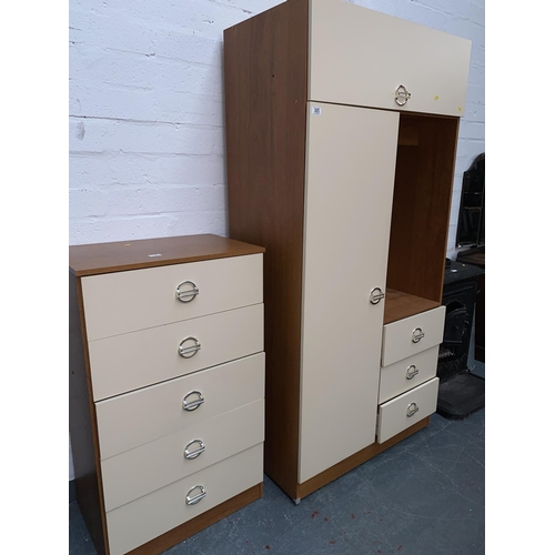 305 - A bedroom compactum wardrobe and a chest of drawers...