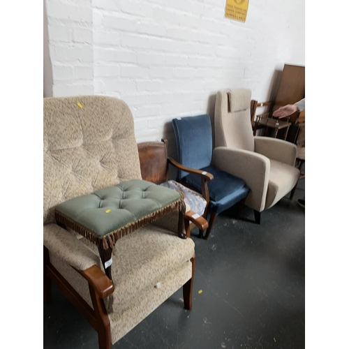 311 - Two upholstered armchairs, Parker Knoll bedroom chair, stool etc....