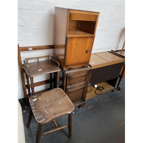 312 - Two bedside cabinets, hostess trolley, telephone stand etc....