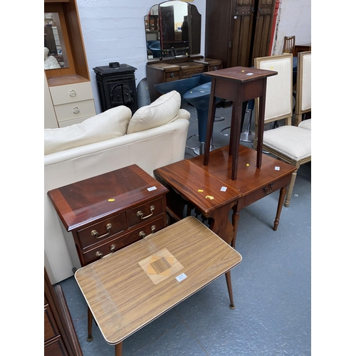 337 - A plant stand, coffee tables, bedside cabinet etc....