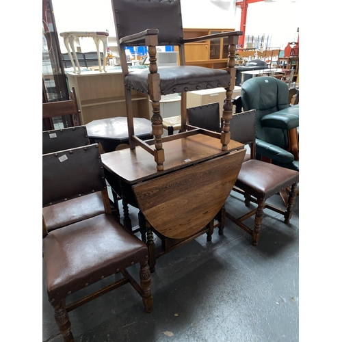 345 - A drop leaf dining table and five chairs...