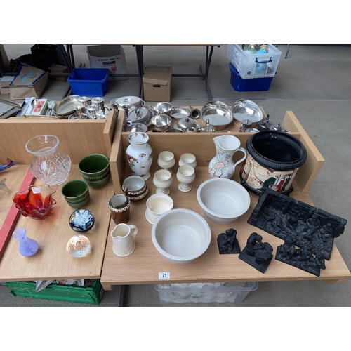 21 - Mixed glass and china including paperweights, coal ornaments etc....