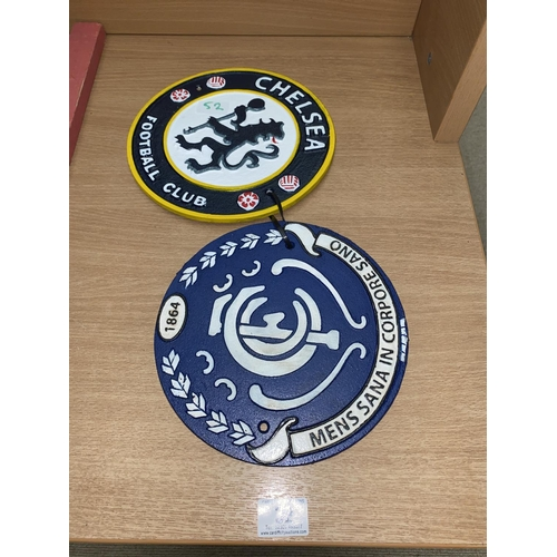 32 - Two cast iron Chelsea F.C wall plaques...