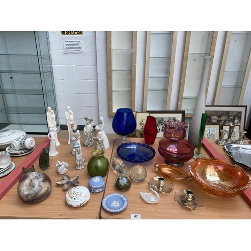 42 - Nao figurines, vintage glassware and fine china including Wedgwood etc....