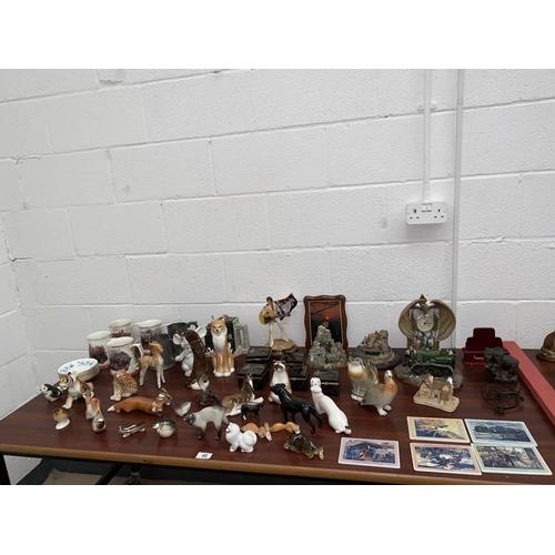 48 - Mixed items including' The Danbury Mint' army china tankards, including Russian Lomonosov porcelain ...