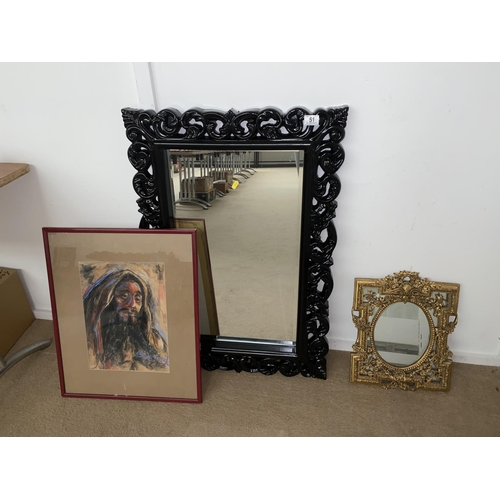 51 - A large mirror, small gilt framed mirror and painting...