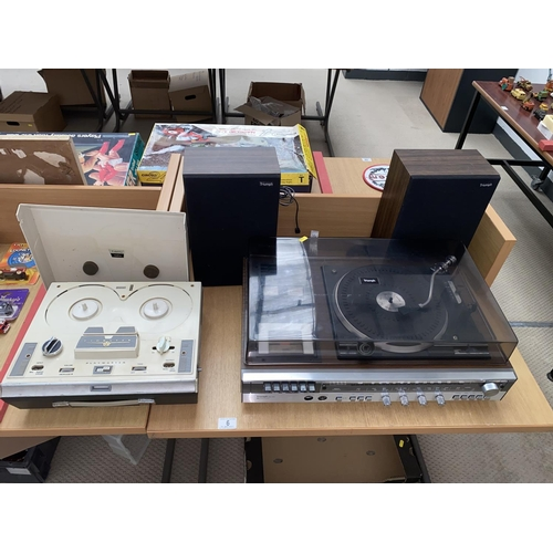6 - A vintage Triumph music system and a Fidelity Playmaster reel to reel...