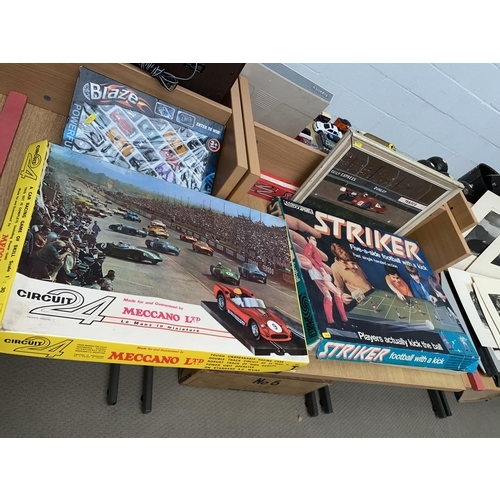 11 - Vintage Striker football game, cars, Meccano- Lemans car racing set-boxed and complete...